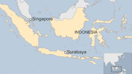 A map showing flight QZ8501's flight path