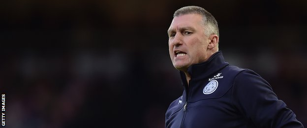 Nigel Pearson, Leicester City Manager, instructs during the Barclays Premier League match between West Han United and Leicester City at Boleyn Ground on December 20 2014.