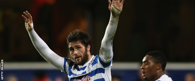 Charlie Austin of QPR celebrates his third goal during the Barclays Premier League match between Queens Park Rangers and West Bromwich Albion at Loftus Road on December 20th