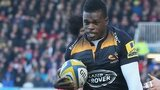 Christian Wade scores Wasps' first against Gloucester at Kingsholm