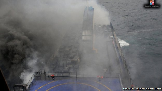 View of the rescue operations of the ferry Norman Atlantic on fire in the Adriatic Sea, 28 December 2014