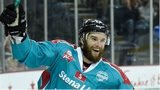 A big smile from Darryl Lloyd after netting his second goal against Braehead Clan