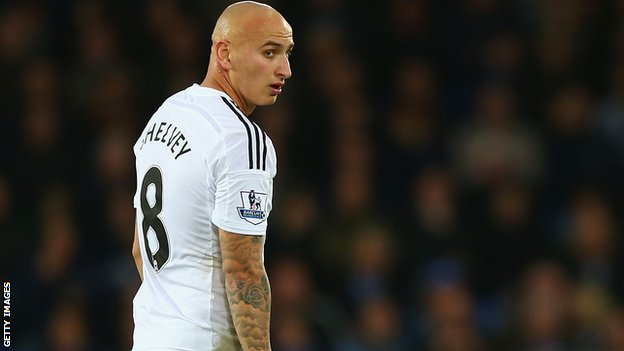 Swansea City's Jonjo Shelvey walks off the field after being sent off for a second yellow card against Everton in November