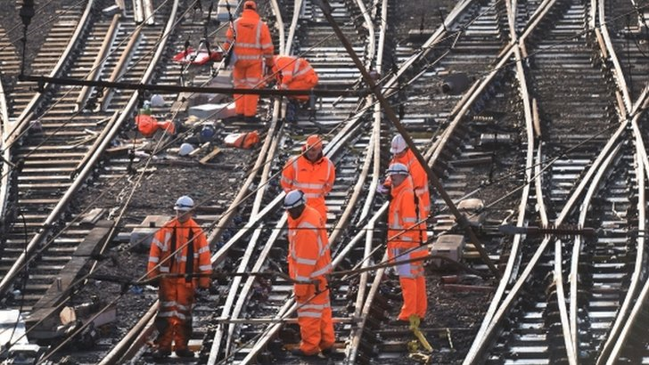 Railway workers on the tracks outside King's Cross, London on 27th December 2014