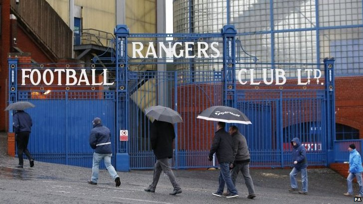 Shareholders arrive at Ibrox Stadium in Glasgow, ahead of the 2014 Rangers AGM