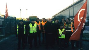 City Link workers, protesting outside the Motherwell depot.