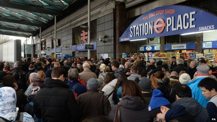 Crowds at Finsbury Park station