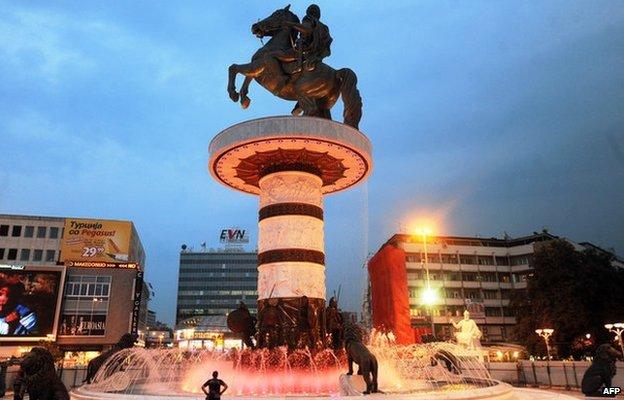 A huge statue of Alexander the Great in central Skopje