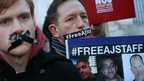 Journalists protest against the imprisonment of al-Jazeera journalists Baher Mohamed, Mohamed Fahmy and Peter Greste outside the Egyptian embassy in London (29 December 2014)