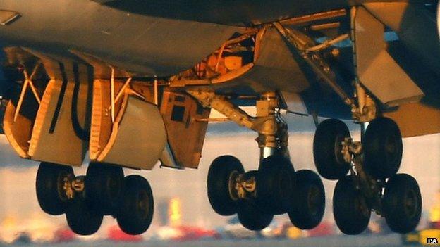 Close-up of landing gear