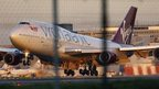 A Virgin Atlantic Boeing passenger jet performs an emergency landing