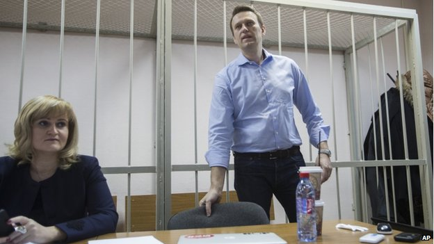 Alexei Navalny in court in Moscow (19 Dec)