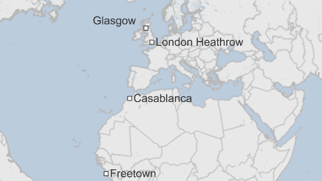 Glasgow ebola patient map