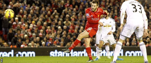 Adam Lallana fires over for Liverpool