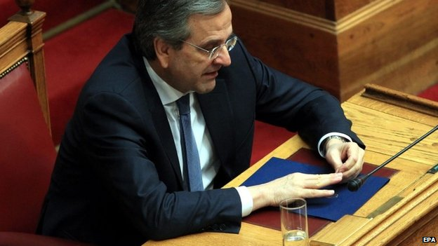 Greek Prime Minister Antonis Samaras contemplates the result in the third round of the Greek presidential election in Athens - 29 December 2014