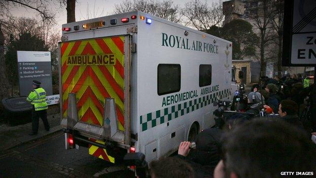The ambulance arriving at the Royal Free Hospital