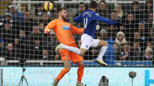 Everton's Kevin Mirallas scores against Newcastle