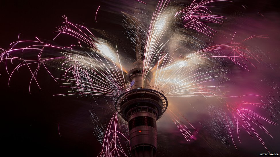 Firework display from the top of the Sky Tower to welcome the New Year on 1 January 2015 in Auckland, New Zealand.