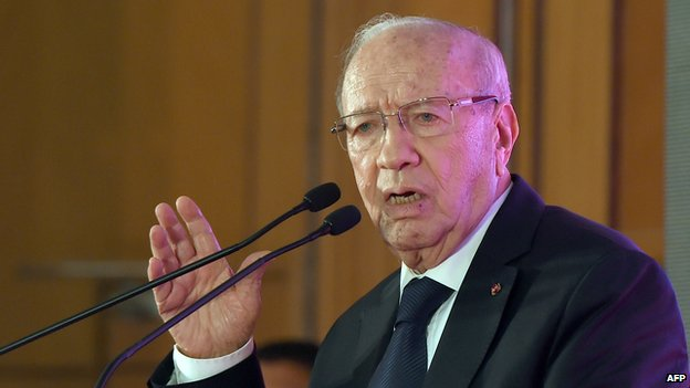 Tunisian presidential candidate Beji Caid Essebsi speaks during a meeting to present his presidential programme in Tunis on 15 December 2014.