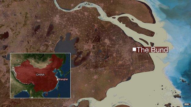 map showing bund in shanghai