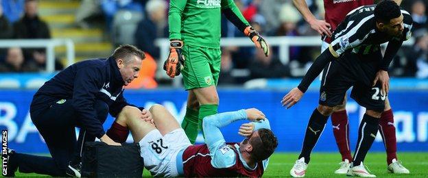 Injured Burnley defender Kevin Long