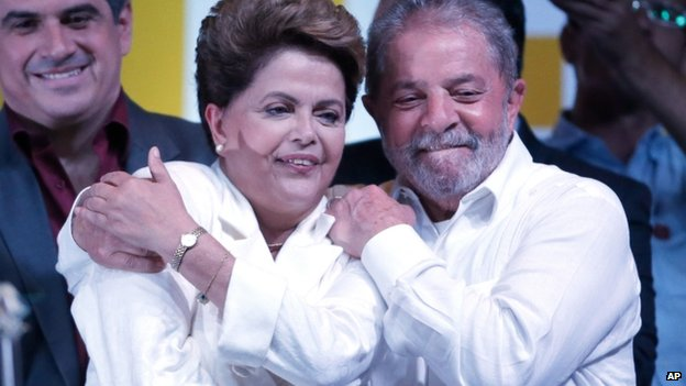 Dilma Rousseff and Luiz Inacio Lula da Silva, 26 Oct 2014