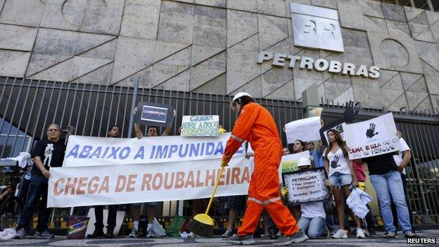 Protesters outside the Petrobras headquarters in Rio