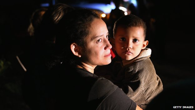 Undocumented immigrant woman and child
