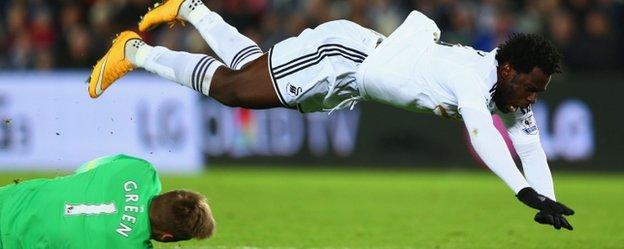 Swansea striker Wilfried Bony