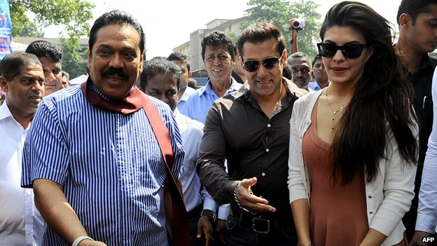 Bollywood film stars Salman Khan and Jacqueline Fernandez with Mahinda Rajapaksa