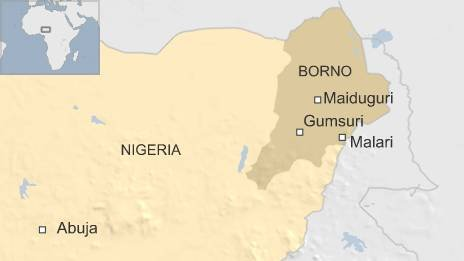 Map showing the villages of Malari and Gumsuri in Borno state in Nigeria