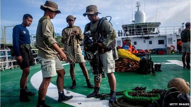 Indonesian marine divers in Pangkalan Bun, 1 January 2015
