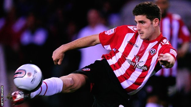 Ched Evans connects with a volley for Sheffield United