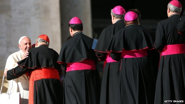 Pope Francis greets cardinals and bishops during his weekly audience in St Peter's Square on 17  December 2014 in Vatican City