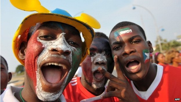 Equatorial Guinea football supporters outside the stadium in Malabo - 2012