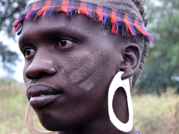 A Mursi person in Ethiopia