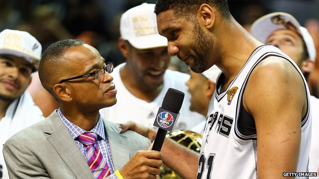Stuart Scott interviews Tim Duncan following the 2014 NBA championship series.