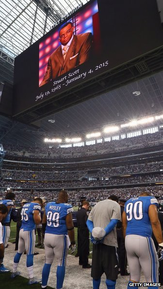 A moment of silence for Stuart Scott at AT&T Stadium in Dallas, Texas.