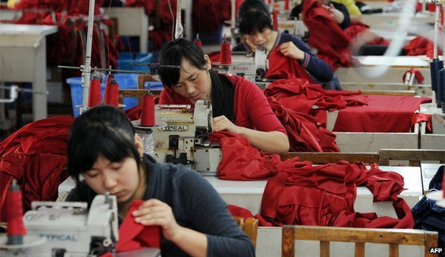 Workers at a Chinese clothing factory