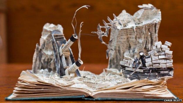 Paper sculpture of Whisky Galore (c) Chris Scott