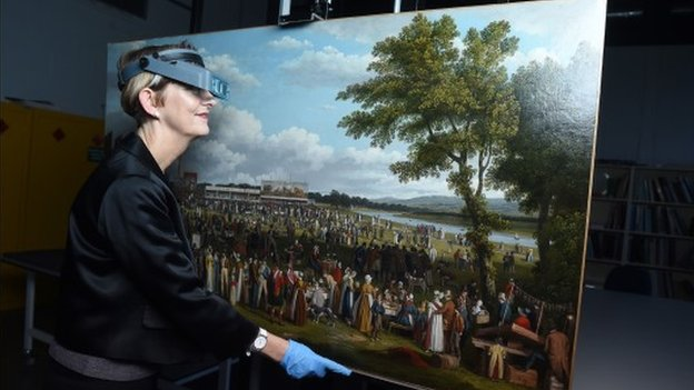 "Polly Smith, from Glasgow Museums with the John Knox painting ""Glasgow Fair"""