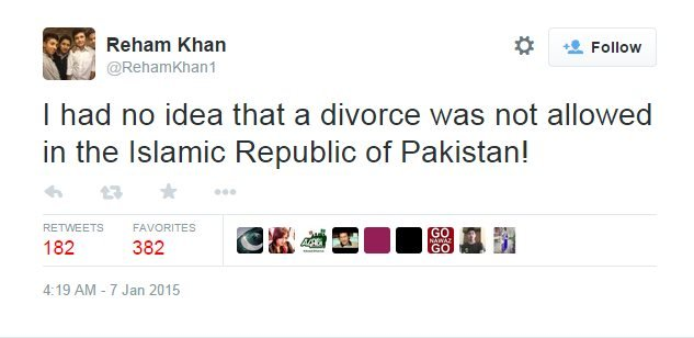 Tweet by Reham Khan