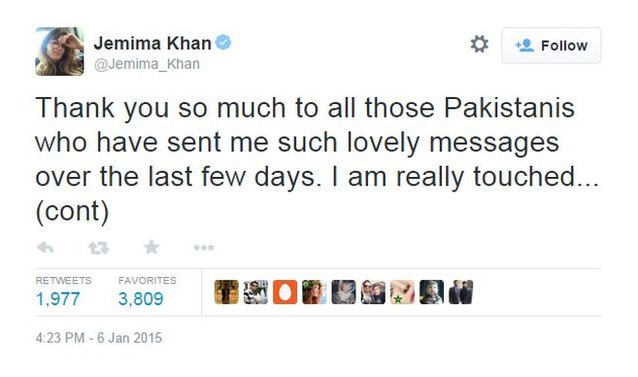 Jemima Khan tweets her thanks to Pakistanis for their show of support after news emerged of his marriage to Reham