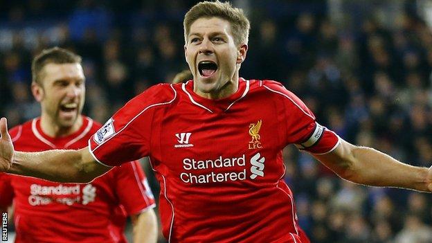 Steven Gerrard celebrates another Premier League goal for Liverpool