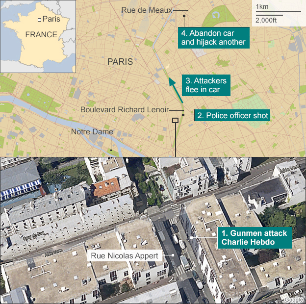 Map of gun attack in Paris