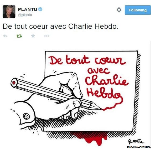 Plantu tribute after Charlie Hebdo  attack