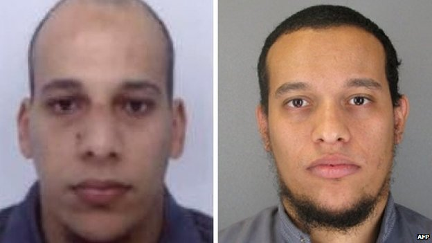 Photos of the suspects released by French police - Cherif and Said Kouachi - 8 January