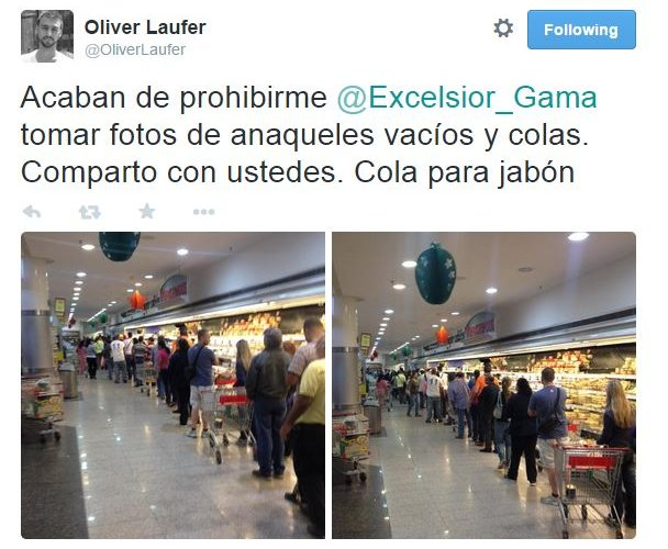 A tweet in Spanish with images of supermarket shelves beneath it