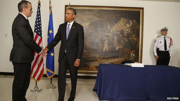 President Barack Obama with French Ambassador Gerard Araud. 8 Jan 2015