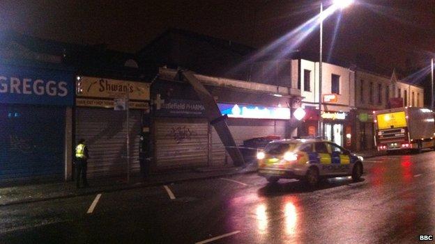 damaged shop